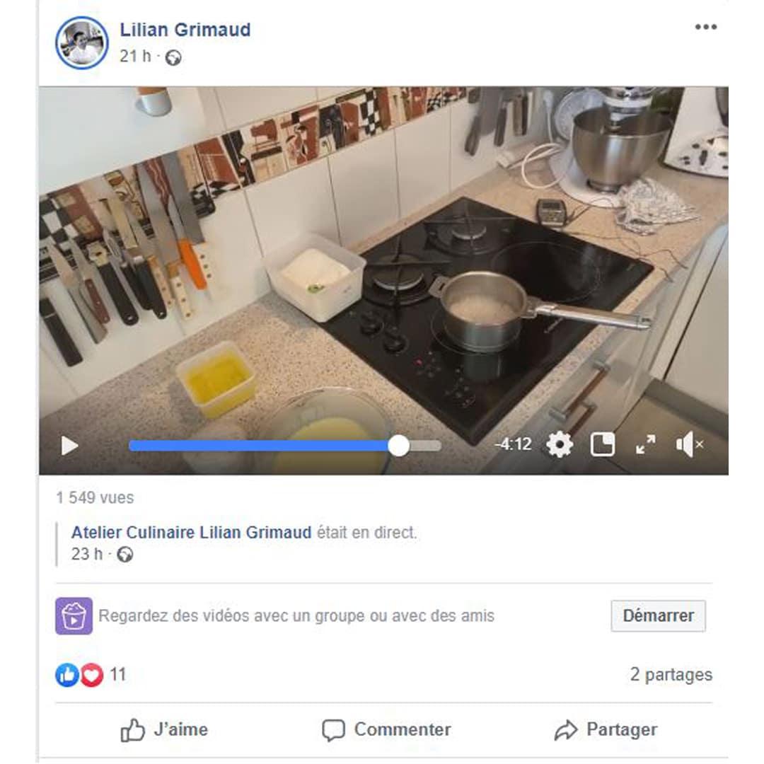Lilian Grimaud : REcette en direct sur Facebook